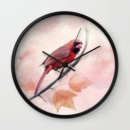 Male Northern Cardinal watercolor painting Wall Clock