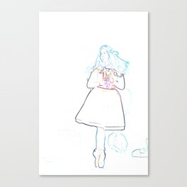 Ballerina With Nutcracker Line Sketch Canvas Print