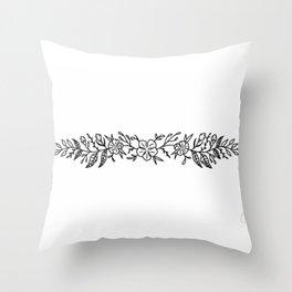 Cherry Blossom Wreath Illustration— Cherry Blossoms Cuff Design Throw Pillow