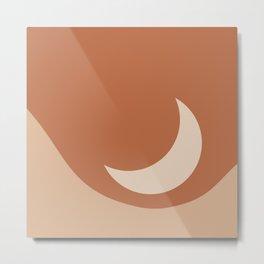 Moonrise Minimalism - Orange Metal Print