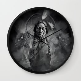 Black and white portrait-Sitting bull Wall Clock