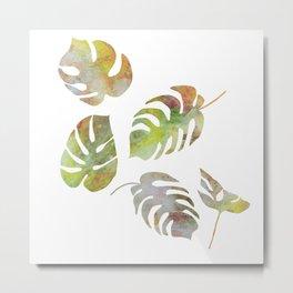 Monstera palm leaves in watercolor style Metal Print
