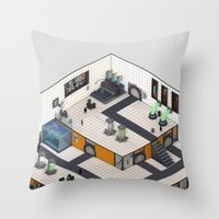 monster inc Throw Pillows featuring Monster Labs Inc. by Allen Amin