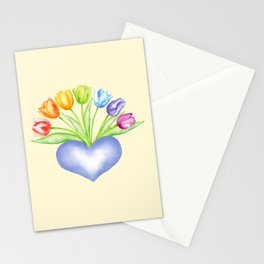 Rainbow Tulips with Heart, Yellow Background Stationery Cards