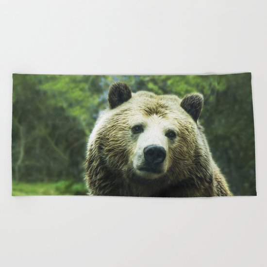 Big Brown Bear Grizzly Wildlife Forest Beach Towel
