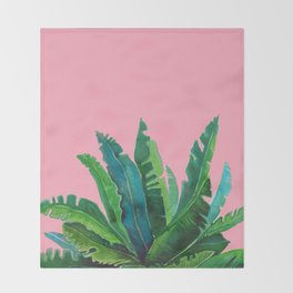 tropical cute leaves pink Throw Blanket