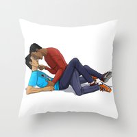 boys Throw Pillows featuring Boys by Kivitasku Designs