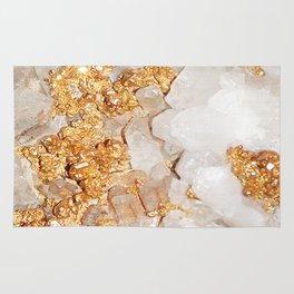 White and Rose Gold Crystal Rug