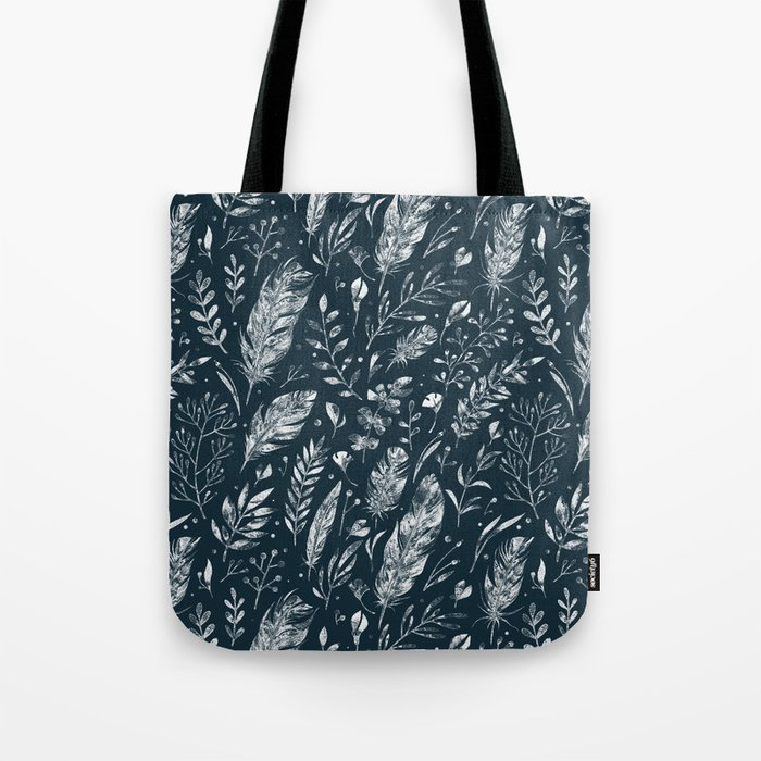 Feathers And Leaves Abstract Pattern Black And White Tote Bag