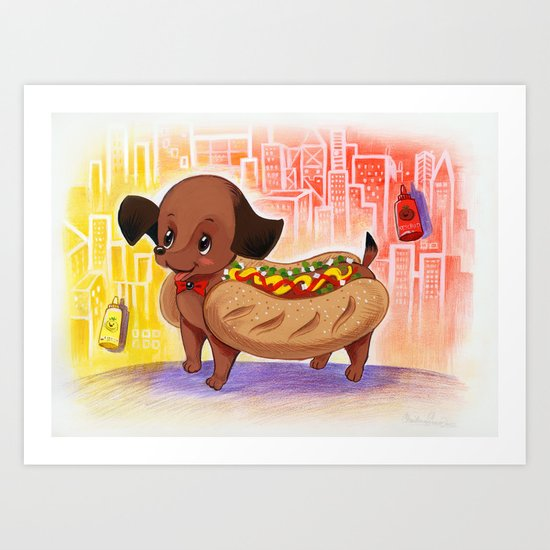 Hot Dog In the City Illustration Art Print