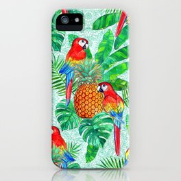 Pineapples and Parrots Tropical Summer Pattern iPhone Case