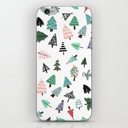 Cute whimsical Christmas trees pattern illustration iPhone Skin