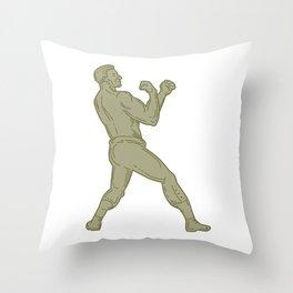 Vintage Boxer Fighting Stance Mono Line Throw Pillow