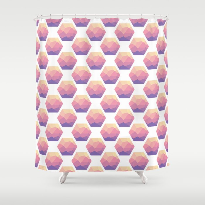 Low poly hexagons Shower Curtain