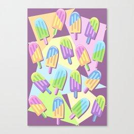 Ice Lollipops Popsicles Summer Punchy Pastels Colors Pattern Canvas Print