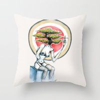 health Throw Pillows featuring Health by M. Adeline Nef