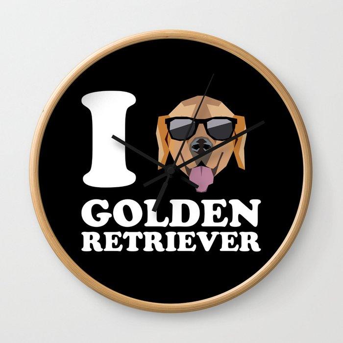 I Love Golden Retriever modern v2 Wall Clock