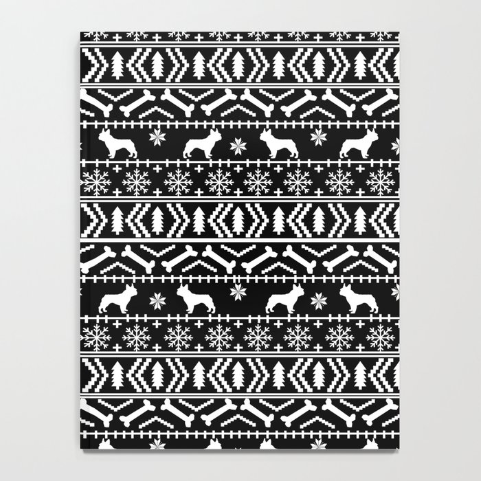 Boston Terrier Christmas Sweater.Boston Terrier Fair Isle Dog Pattern Silhouette Christmas Sweater Black And White Notebook