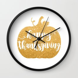 Happy Thanksgiving | Orange Glitter Pumpkin Wall Clock