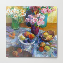 Still Life with Flowers and Fruits Metal Print