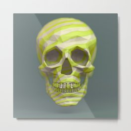 Yellow pop candy skull 3D render. Metal Print