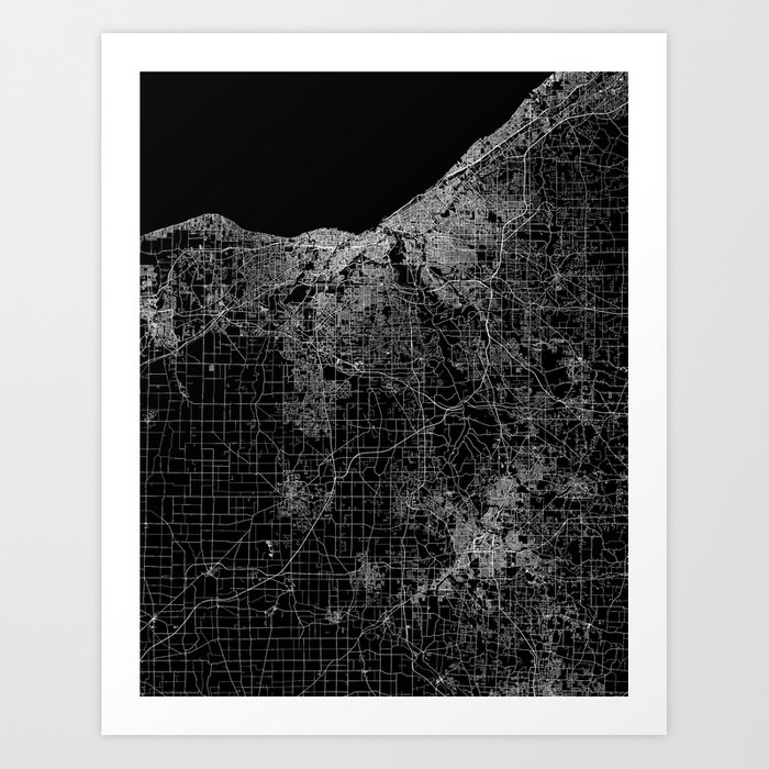 Cleveland map Ohio Art Print on white map of ohio, full screen map of ohio, economy map of ohio, small map of ohio, large map of ohio,