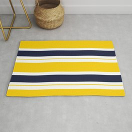 Yellow and Blue Horizontal Lines Stripes Rug