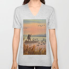 Duck Hunting On A perfect Day Unisex V-Neck