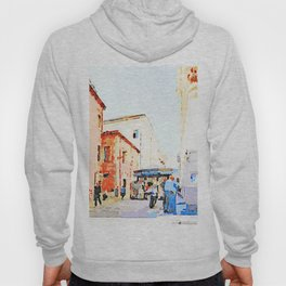 Teramo: foreshortening with red buildings and newspaper kiosk Hoody
