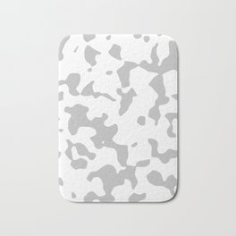 Large Spots - White and Silver Gray Bath Mat