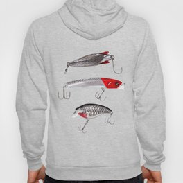 Red and Silver Fishing Lures Hoody