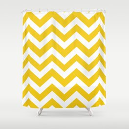 Jonquil - yellow color - Zigzag Chevron Pattern Shower Curtain