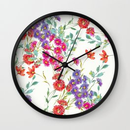 fresh floral spring scatter Wall Clock
