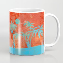 Tropical sunset with blue palm trees Coffee Mug