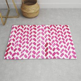 Cute watercolor knitting pattern - pink Rug