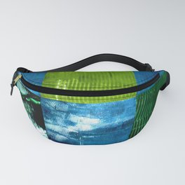Blue green square Fanny Pack