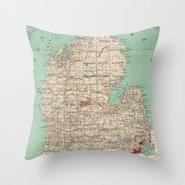 Vintage Map of Michigan (1888) Throw Pillow