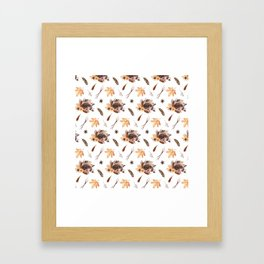 Cute brown pink orange yellow watercolor hedgehogs fall leaves Framed Art Print