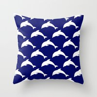 dolphins Throw Pillows featuring Dolphins by The Wellington Boot