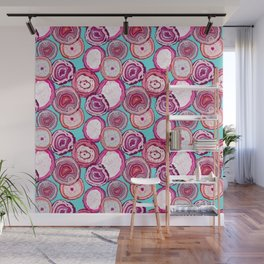 Agate slices Teal Wall Mural