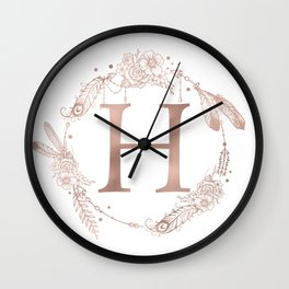 Letter H Rose Gold Pink Initial Monogram Wall Clock