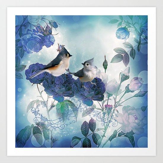 Cute birds with flowers Art Print