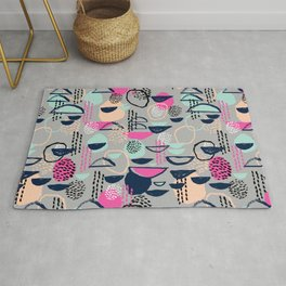 Rumba - pattern print retro cool hipster art colorful feminine shapes abstract Rug