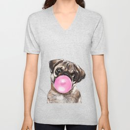 Pug with Pink Bubble Gum Unisex V-Neck