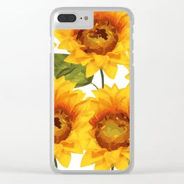 Design Five Sunflower on white Background Clear iPhone Case