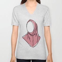Hijab Woman 04, Single Line Art Colored Set Unisex V-Neck