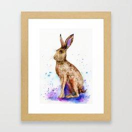 Watercolor Brown Hare Portrait Framed Art Print