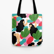 Girl Pattern Leaf Tote Bag