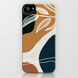 Leafy Lane in Navy and Tan 3 iPhone Case