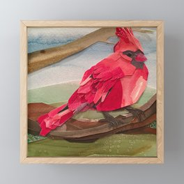 The Cardinal Winter Bird Framed Mini Art Print